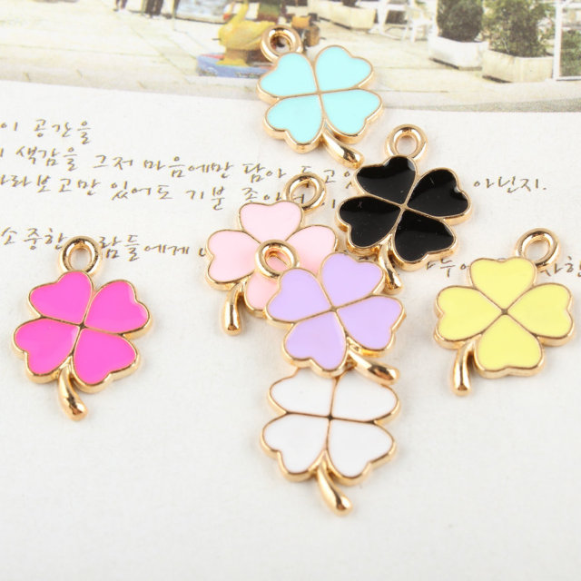 MRHUANG 10pcs/lot  Beautiful  Lucky Leaf Golden Tone Metal Alloy Enamel Floating Locket Charms Pendant for DIY Bracelet Necklace