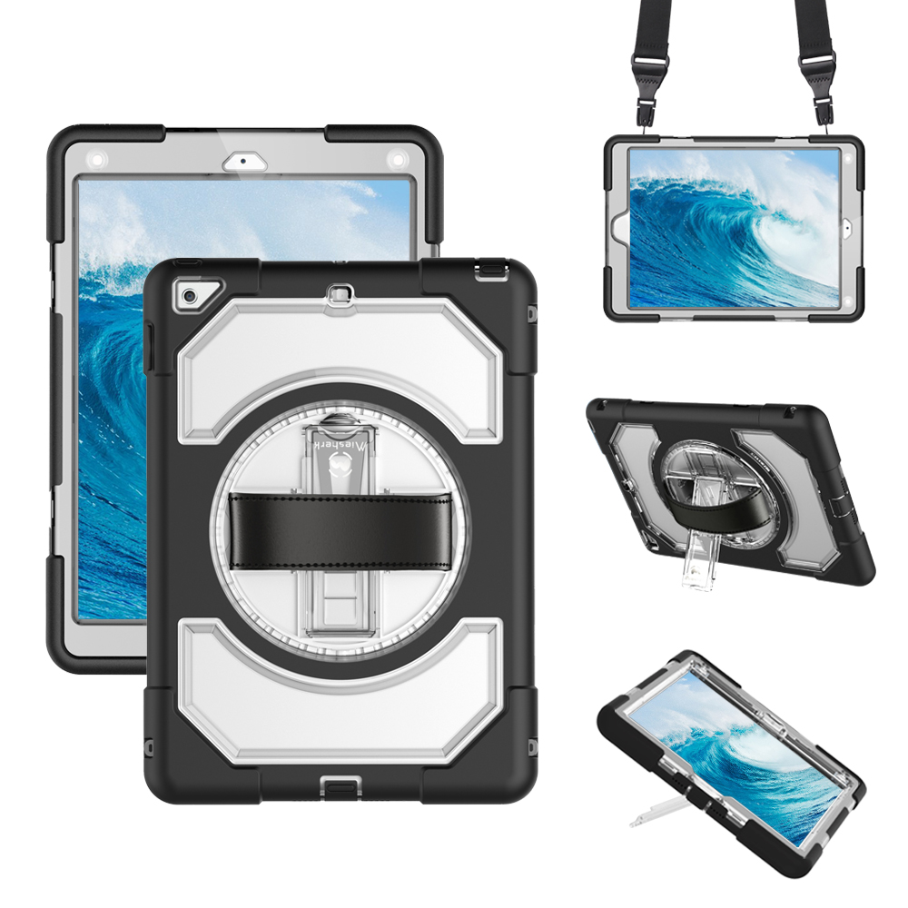Miesherk Case for New iPad 2018 / 2017 with Hand Strap Neck Strap, Shockproof Drop Protection Cover with Rotating Handle StandMiesherk Case for New iPad 2018 / 2017 with Hand Strap Neck Strap, Shockproof Drop Protection Cover with Rotating Handle Stand