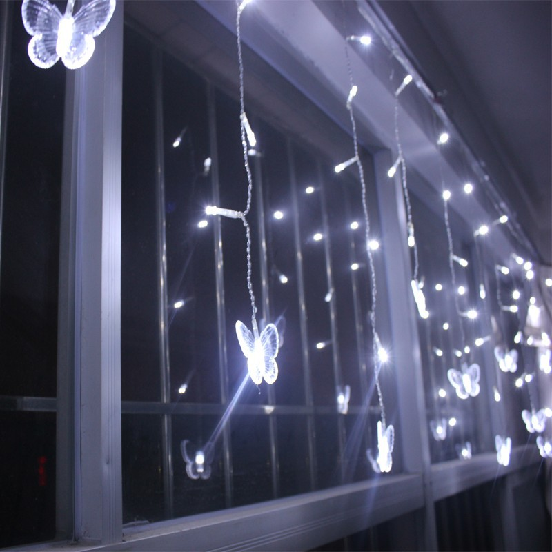 10m Fairy String Icicle LED Curtain Lights Garland Butterfly Cortina De Decorative Lights Christmas Wedding Luminaria Lighting 10m battery operated fairy lights led string garland curtain lamp for wedding indoor holiday lighting christmas tree luminaria
