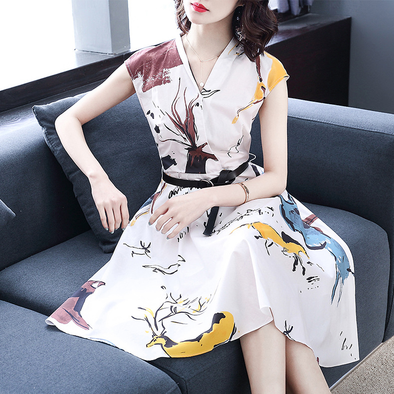 New cotton print dress European and American women's wear V collar sleeveless waist waist long  3924-in Dresses from Women's Clothing    2