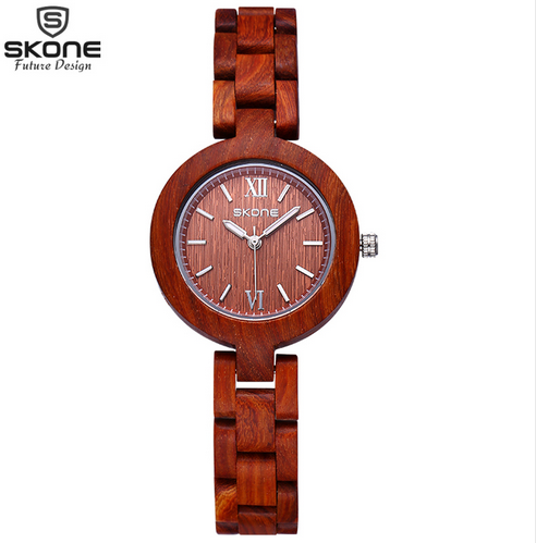 2016 New SKONE Newest Quartz Wooden Watch Top Luxury Brand Wood Watches For Women Simple Analog