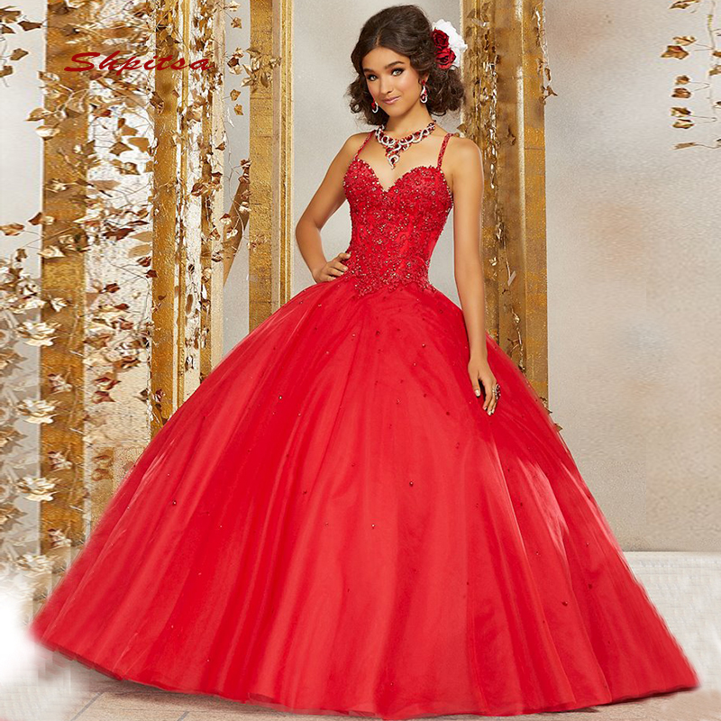 Red Ball Gown Dresses: Red Ball Gown Princess Quinceanera Dresses Girls