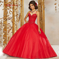 Red Ball Gown Princess Quinceanera Dresses Girls Masquerade Prom Sweet 16 Dresses Ball Gowns vestido de 15 anos baile