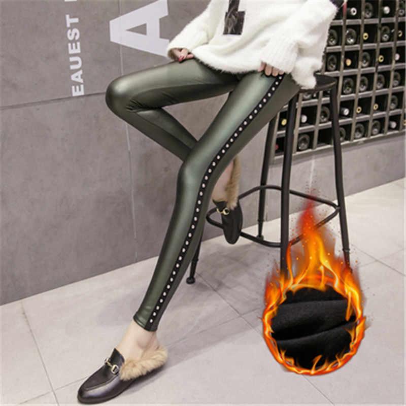 2018 Pantaloni di Velluto Donne di Spessore Cuoio Rivet Pantaloni di Alta vita Inverno Caldo Sottile Sexy Plus Size Matita Pantaloni pantalon femme
