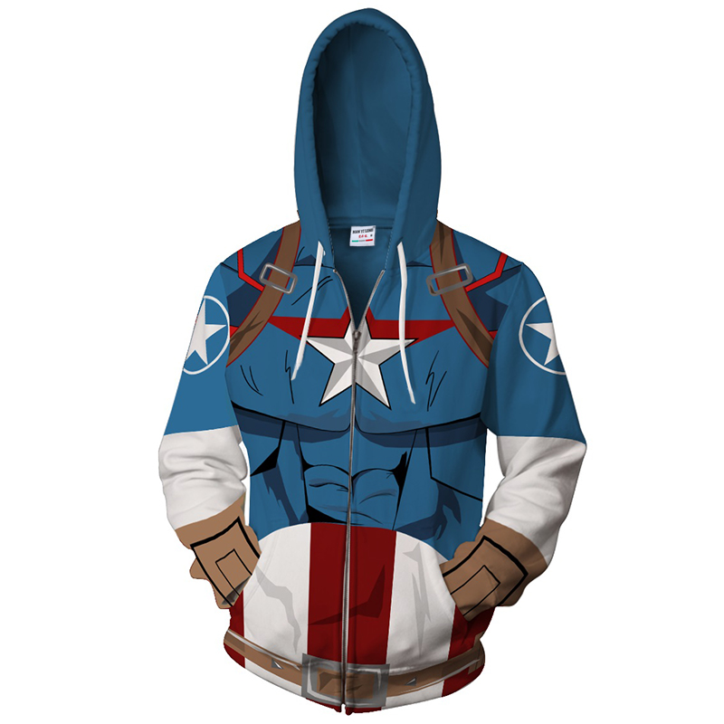 2018 New Captain America Zip Hooded Hot Long Sleeve Zipper Men Captain America Masked Hoodie Cosplay Sweatshirt Jacket tops
