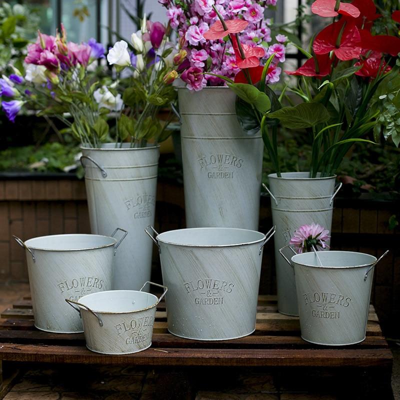 Iron Barrel Garden Flower Pots Planters Flower Vases Home Decor Wedding Barrels Iron Pots Floor