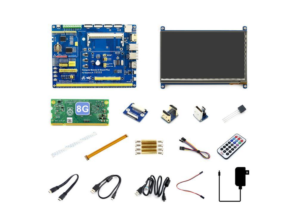 Raspberry Pi Compute Module 3+/8GB Development Kit Type B, CM3+ IO Board, HDMI LCD, DS18B20, IR Remote Controller