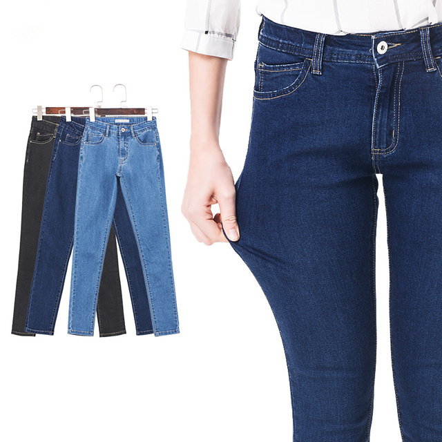 2016 jeans mulher femme hight Cintura Elástica Plus Size Mulheres Denim Jeans skinny Lápis