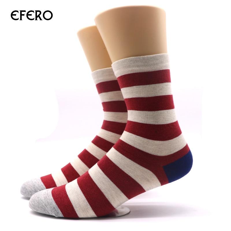 efero 1pair Mens Long Striped Socks Fashion Brand Socks Men Compression Sock Calcetines Business Dress Socks Meias Masculinas