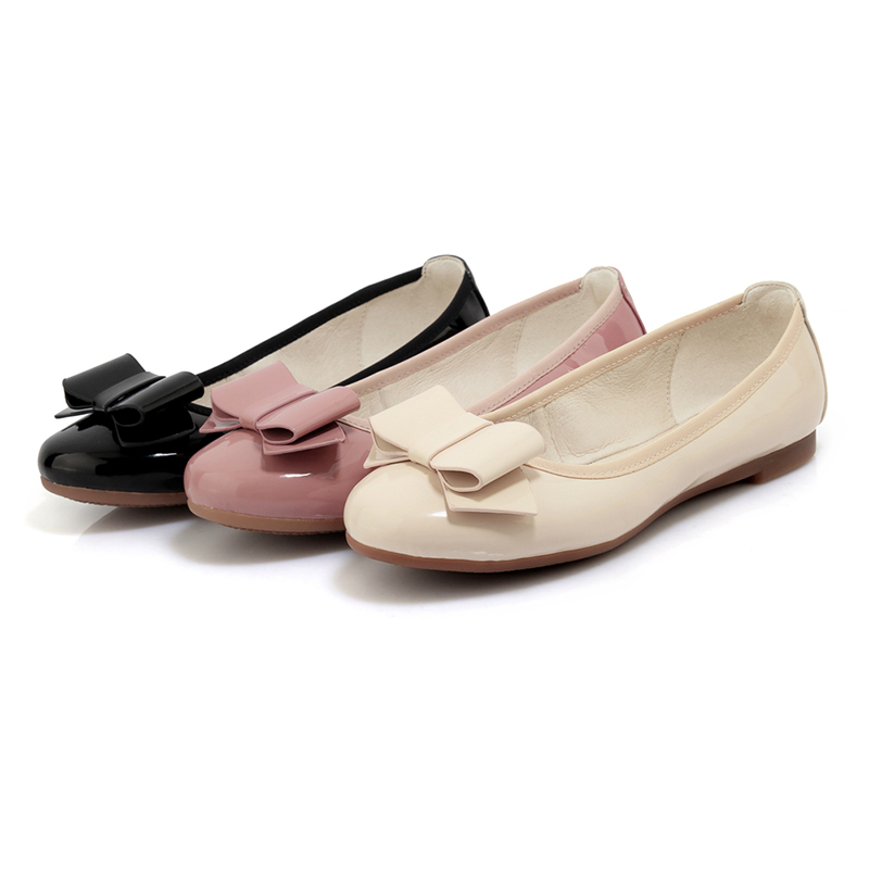 Rose Pliage De Apricot Automne Bowtie Sur Glisser Mode noir Ballet Date Rxemzg Chaussures rose Appartements Cuir Confort Verni Simples Plates 2018 Femme ZqnxTpH5U