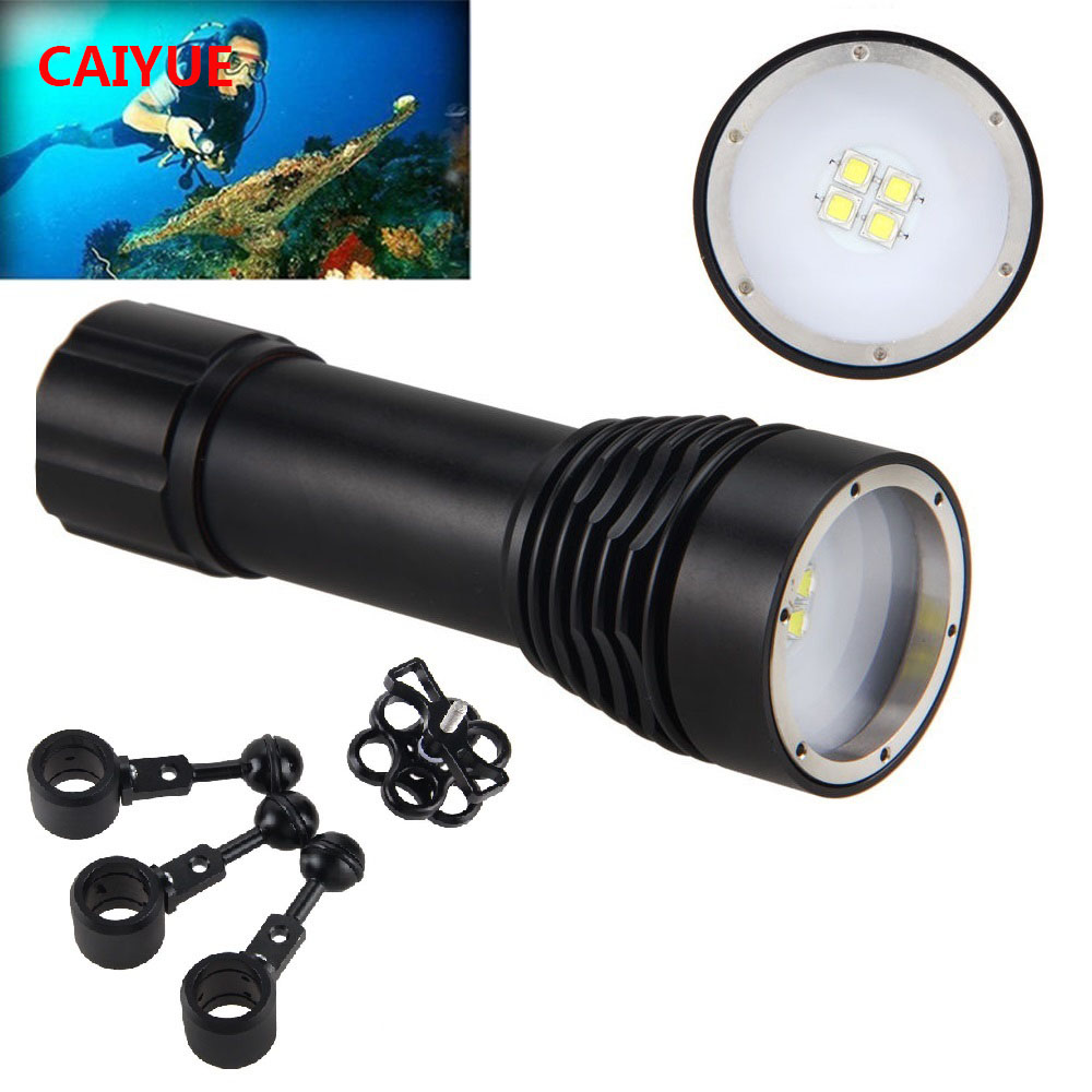 Diving Photography Underwater Video LED Flashlight W40VR D34VR Torch Lamp 4x White Cree XM-L L2 LED Power Supply 1*26650 Battery