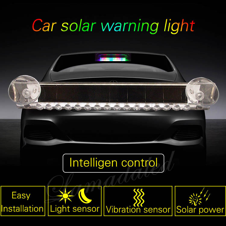 21CM Car Solar Warning Lights 16 LED Anti rear-end collision flash lamp Car  rear window Solar power Thunderbolt blinking Lights