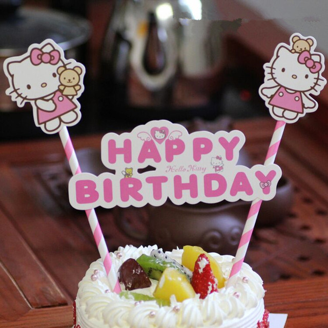 1set Hello Kitty Happy Birthday Cake Baking Decoration Flag Baby Shower Flags With Paper