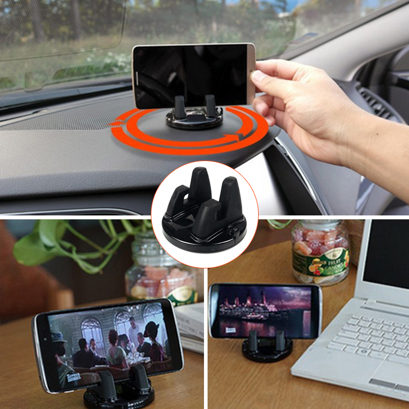 Universal Car Holder Rotatable Soft Silicone Anti Slip Mat Mobile Phone Mount Stands Bracket Support for iPhone 5 6 6s 7 GPS hot sale mini universal 360 suction cup mobile vehicle support car windshield mount holder bracket for iphone 6 5 4 phones note