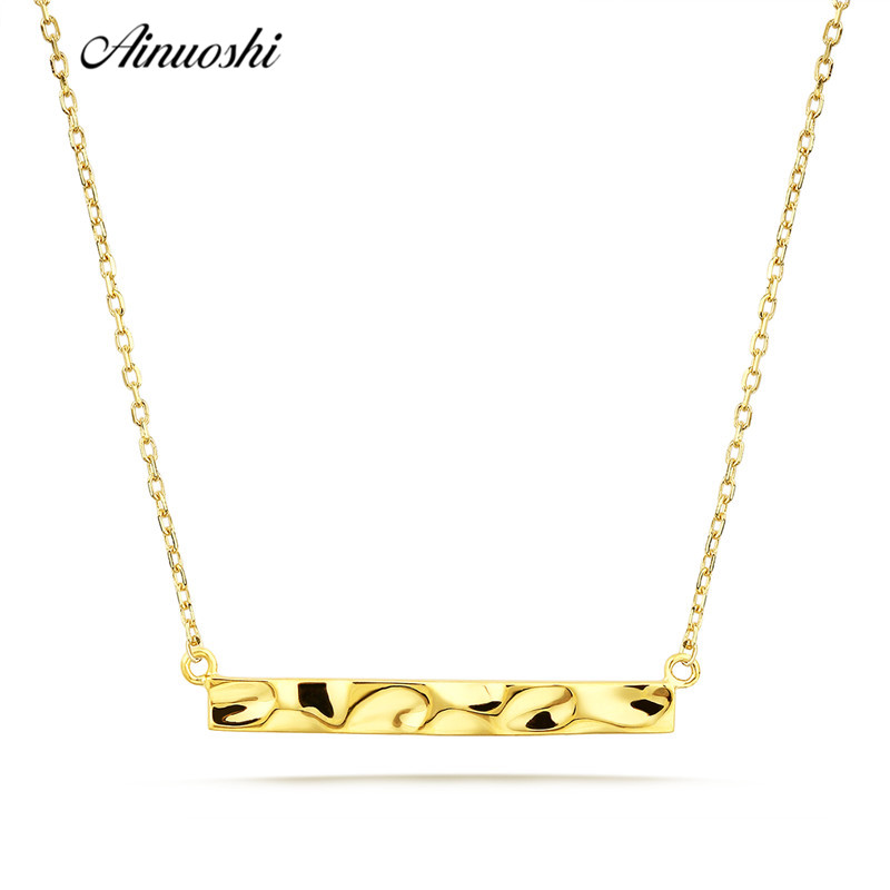 AINUOSHI 18K Gold Necklace Rose Gold Yellow Gold Long Square Bar Necklace for Women Simple Fine