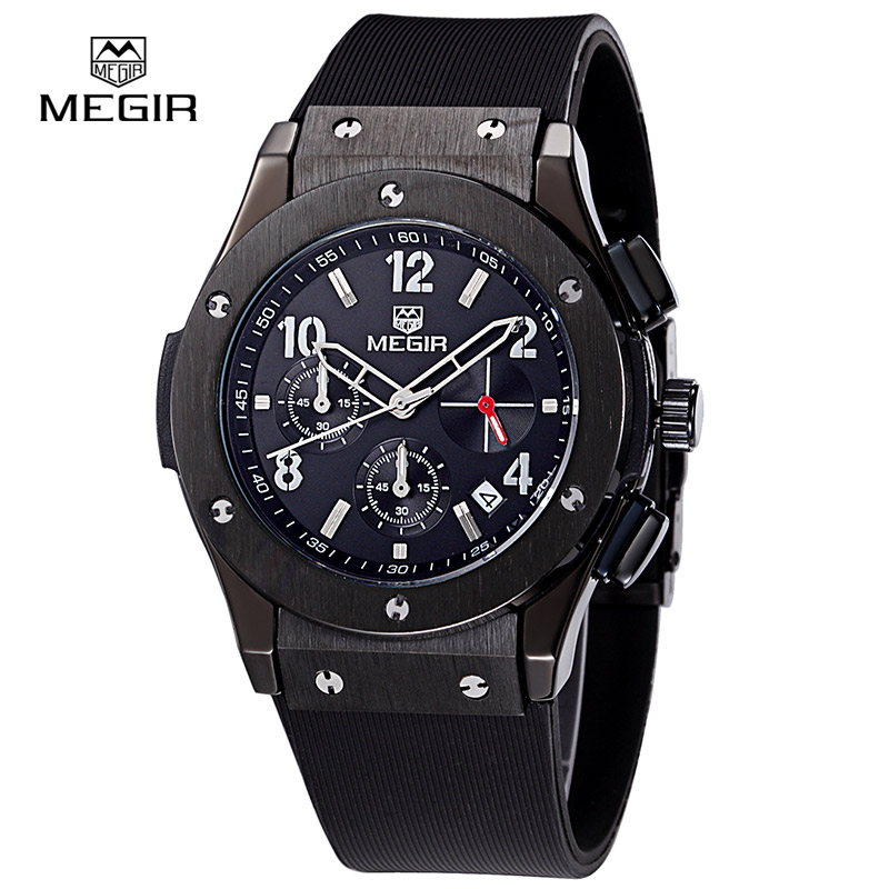 Megir hot brand men quartz chronograph watches relojes heuer man shows to casual sports fashion clock watch men - 3002 M Bracele