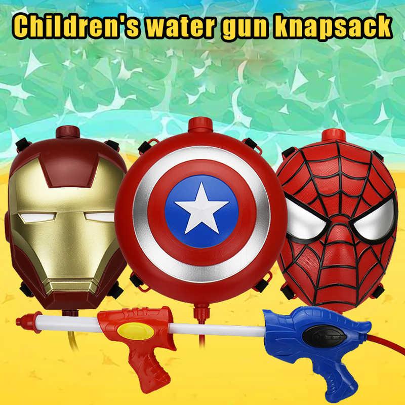 Мститель лига для мальчиков Железный человек Человек-паук рюкзак водяной пистолет Открытый армейские водяной пистолет Комбинации запускает водяной пистолет игрушка