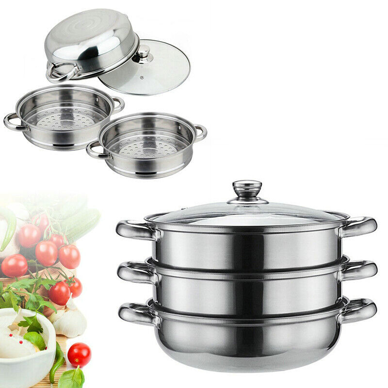 3 Tier Steamer Induction Steam Steaming Pot Stainless Steel Kitchen Cookware 28cm