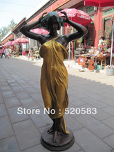 free 48 inch classical western art bronze gold sculpture carvings a girl women statue fast