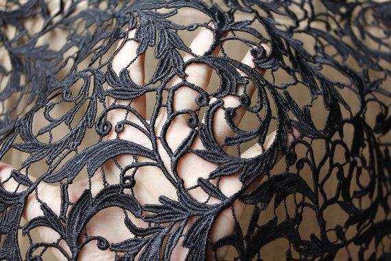 Noir, tissu en dentelle de venise, vintage, grace, tissu en dentelle exquis 5 mètres