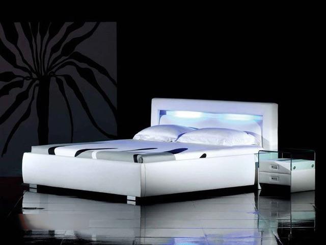 Control remoto LED contemporáneo moderno cuero saco de cama muebles de dormitorio de matrimonio Hecho en China