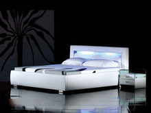 LED remote control contemporary modern leather sleeping bed King size bedroom furniture Made in China