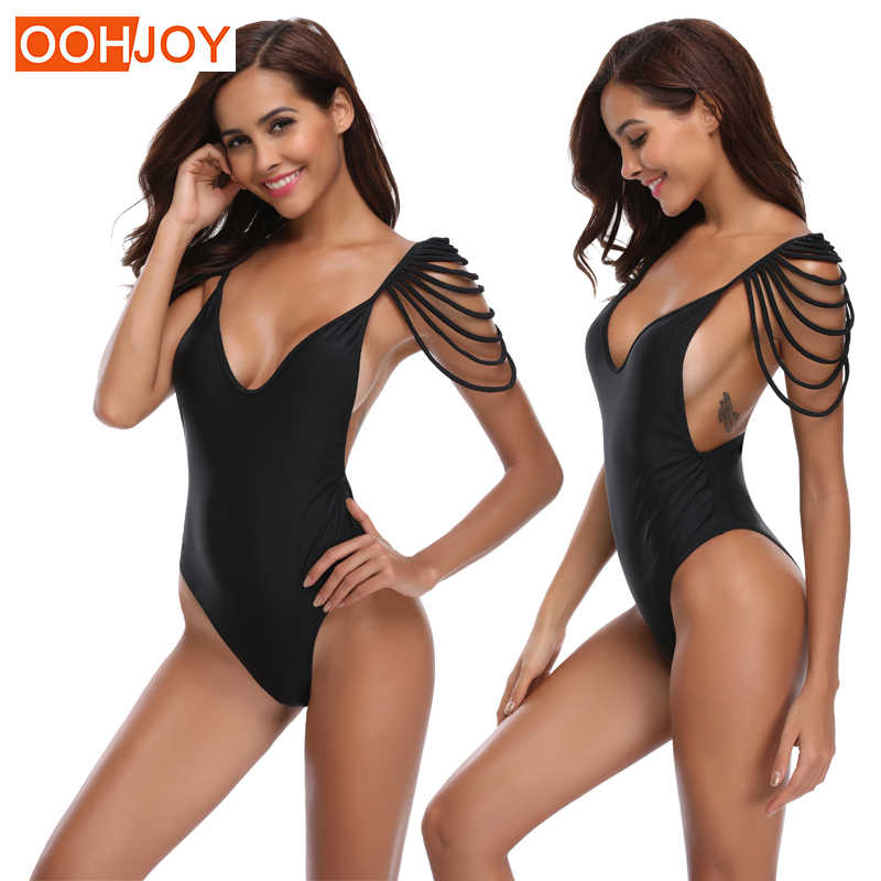 3fed7065bdc53 New Sexy Tassel Fringe Monokini Women One Piece Suit Solid Color Swimwear S-XL  Backless