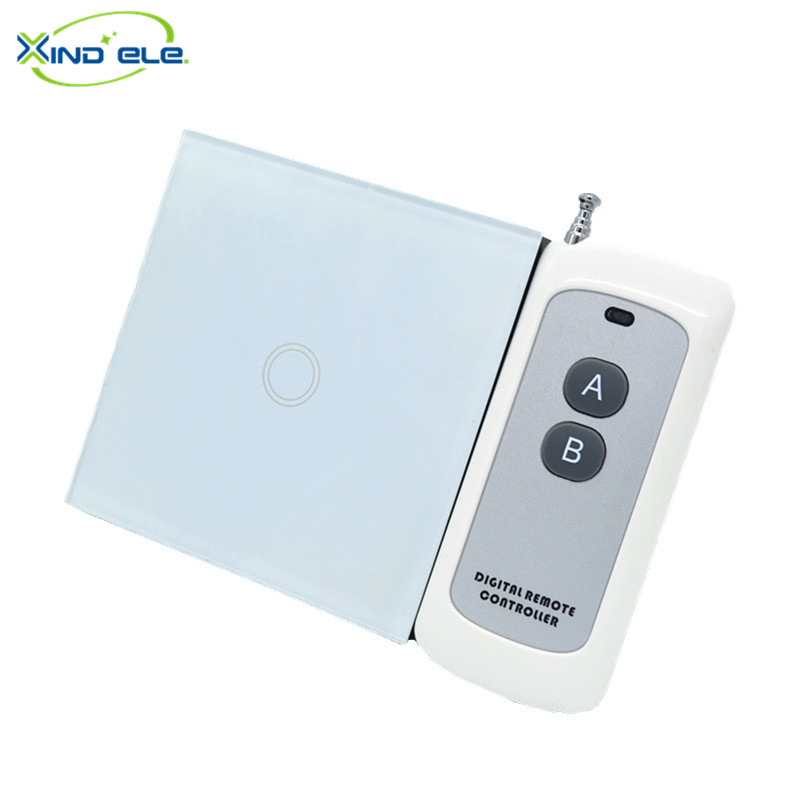 XIND ELE Remote Control Switch 1 Gang 1 Way ,RF433 Smart Wall Wireless touch light switch #XDTH01W+BLR-2# xind ele crystal glass panel smart home touch light wall switch with remote controller interruptor de luz xdth03b blr 8