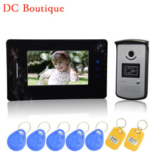(1 set) HD 600TVL Wire one to one Video Door Phone Night version Camera CMOS Lens 7 inch TFT-LCD color screen RFID card unlock