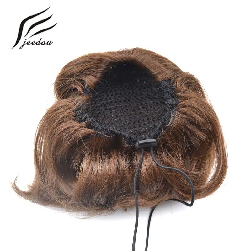 jeedou Syntetisk Hår Hög Temperatur Fiber Chignon Blond Brun Färg - Syntetiskt hår - Foto 6
