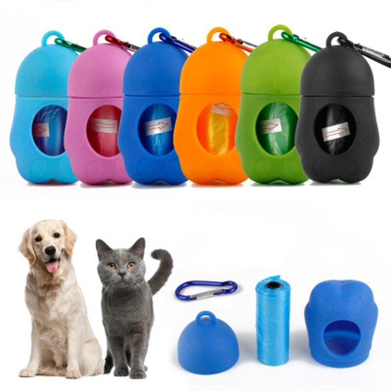 Pet Dog Poop Bag Dispenser Waste Garbage Bags Carrier Holder Dispenser + Poop Bags Set Pet Dog Waste Poop Bag