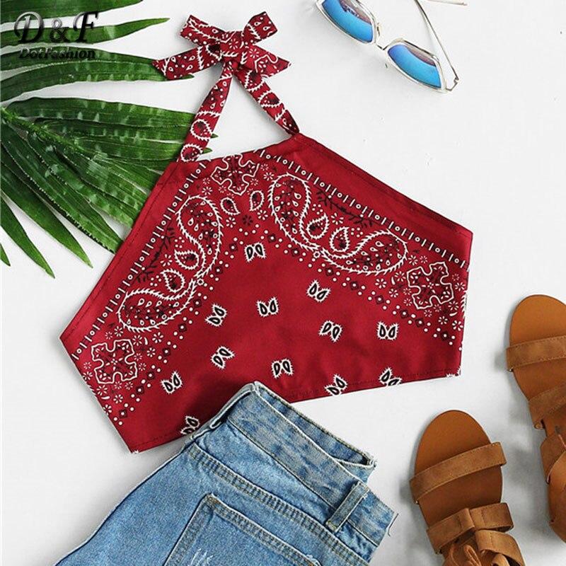 Dotfashion Vintage Print Crop Halter Top Summer Beach Wear Sleeveless Short Top 2019 Women Backless Burgundy Casual Vest