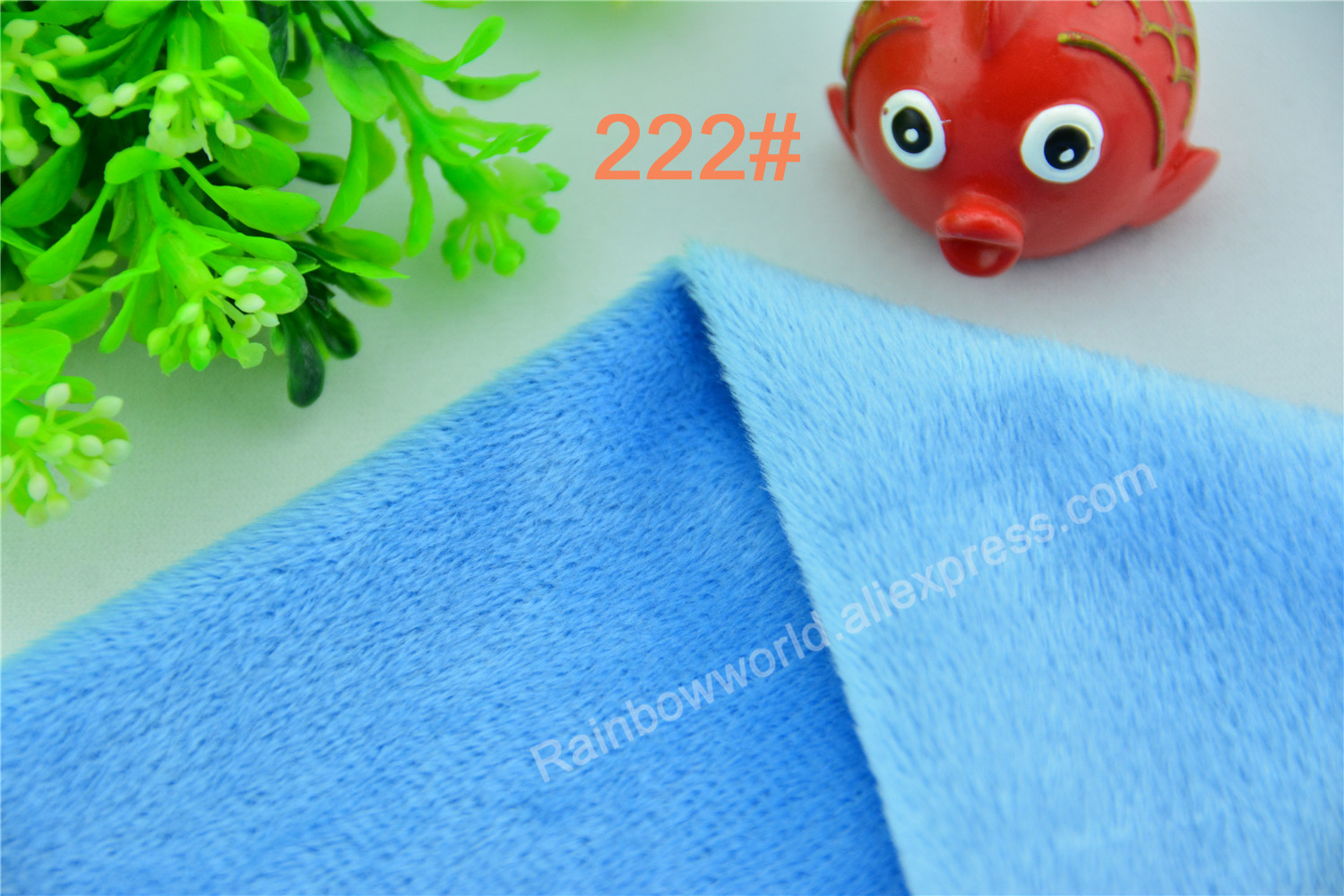 222# Sky Blue Color Super Soft Short Hair 2-3mm Fleece Fabric Velvet Microfiber Velboa for DIY Patchwork Toy Shoes Sofa Pillow