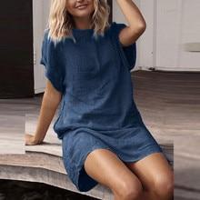 vestidos verao Women Summer Casual Solid Short Sleeve Dress Crew Neck Linen women summer dress femininos