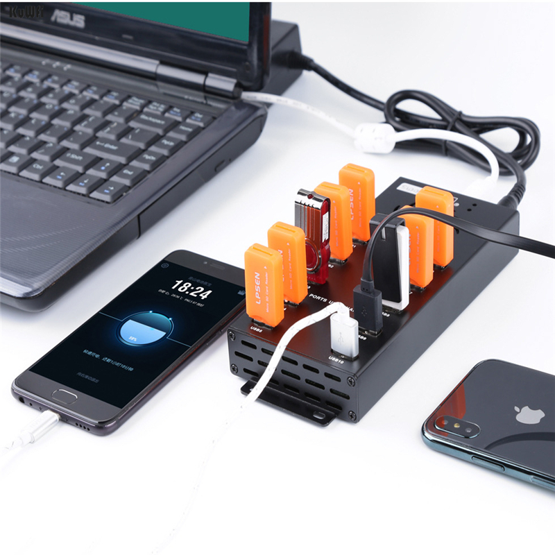 KuWFi USB Hub Charger Hub Made of Aluminum Alloy With Dc12v Input Included Power Adapter And 10 ports for Apple Laptop and PC in USB Hubs from Computer Office