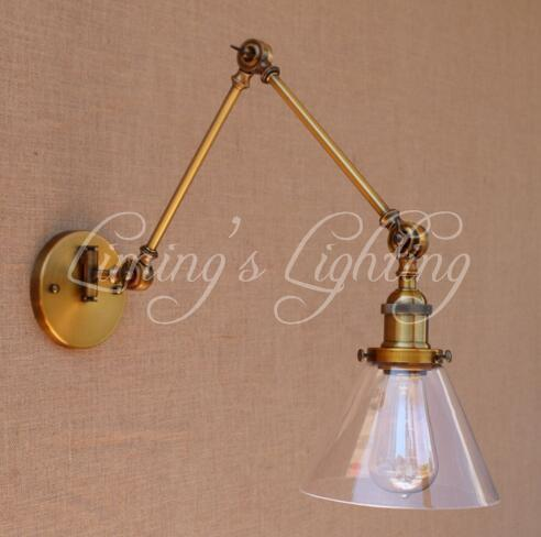 Vintage Wall Light Glass Swing Long Arm Wall Lights Fixtures Industrial Retro Wall Lamp Edison Appliques LED