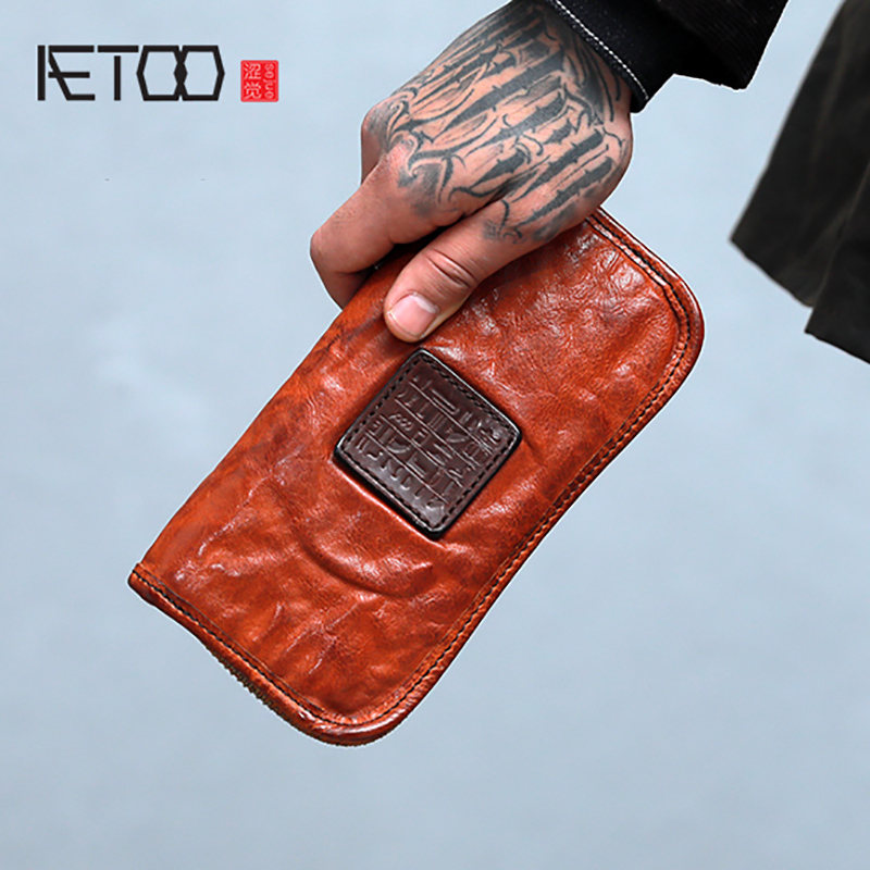 AETOO Make old retro wallet male long zipper soft cowhide Large capacity leather bill clip young female personality handbagAETOO Make old retro wallet male long zipper soft cowhide Large capacity leather bill clip young female personality handbag