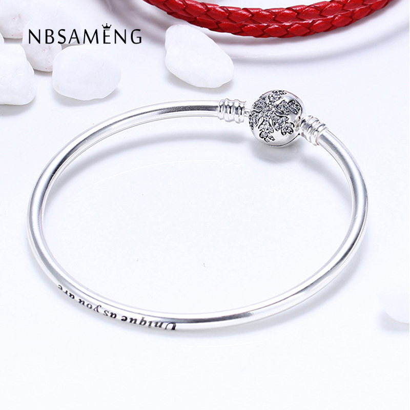 2018 Authentic 925 Sterling Silver Original Unique Snowflake Moments Silver Crystal Bangles Fits Pan Basic Bracelets DIY Jewelry