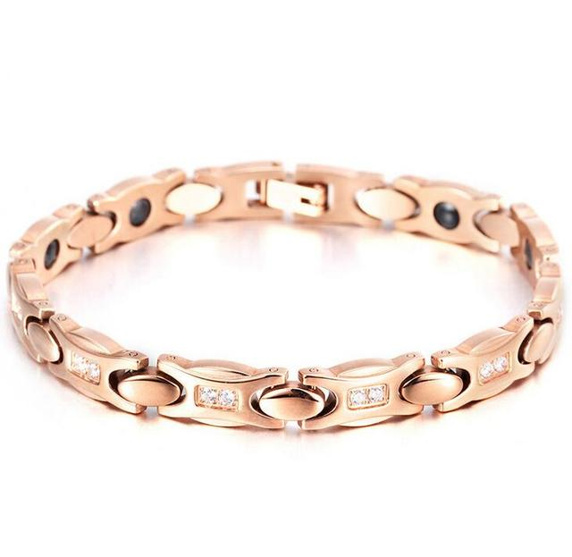 19cm 8mm Women Anium Stainless Steel Magnetic Health Bracelets Rose Gold Magnet Link Chain Red