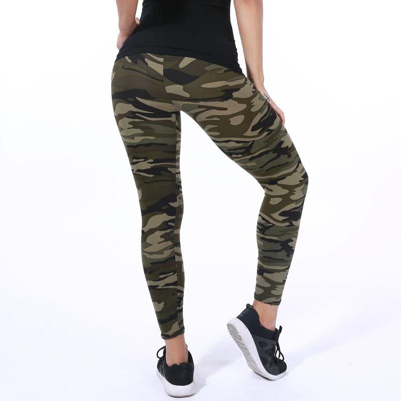 Mode baru 2018 Kamuflase Pencetakan Elastisitas Legging Hijau / Biru - Pakaian Wanita - Foto 5