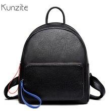 5872c81c8 Kunzite Women's Backpack Solid Black Leather Backpacks for Teenage Girls  Female School Shoulder Bag Bagpack Mochilas