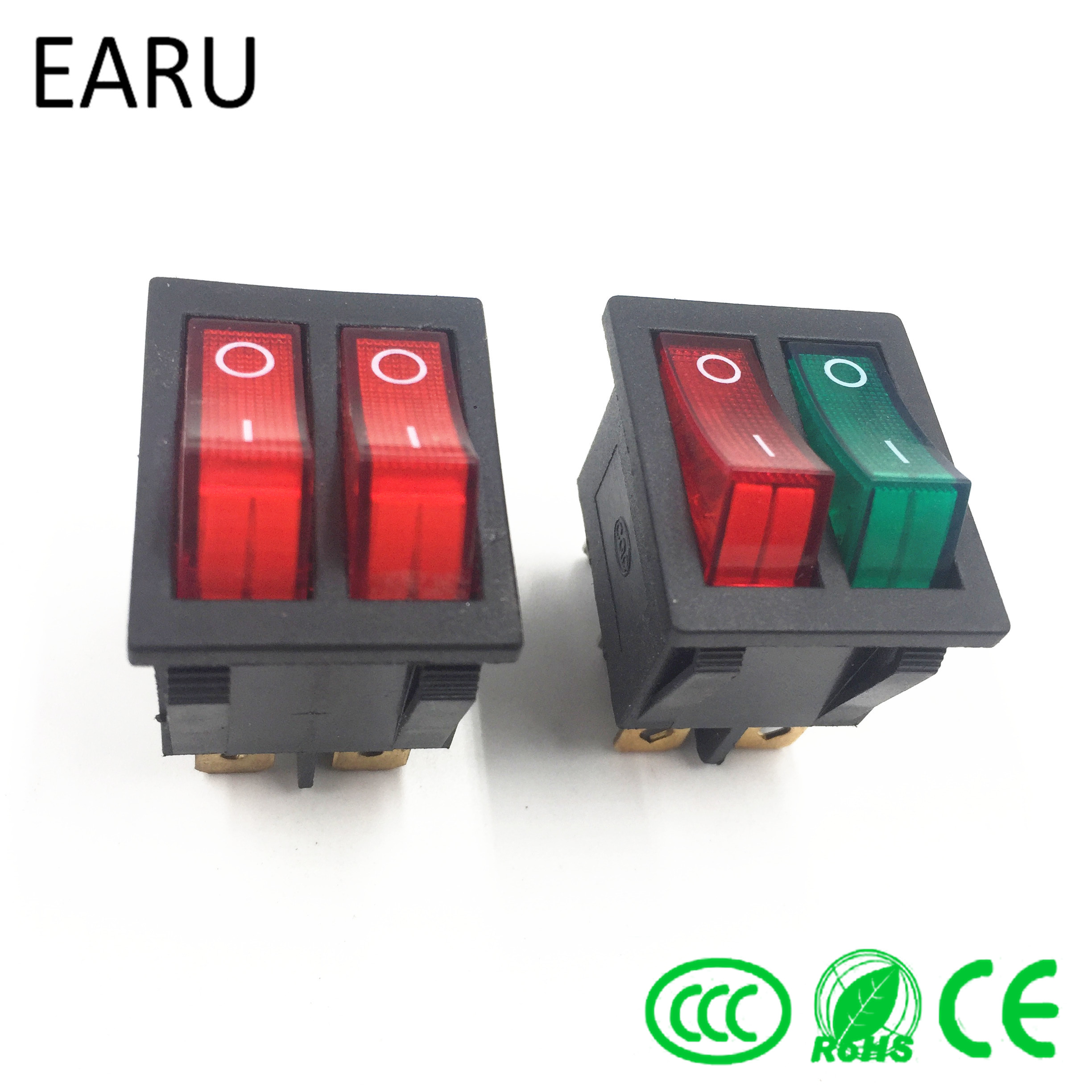 1pc diy model kcd3 double boat rocker switch toggle 6 pin on off with green [ 2448 x 2448 Pixel ]