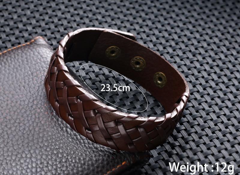 Black Brown Wide Leather Mens Bracelet