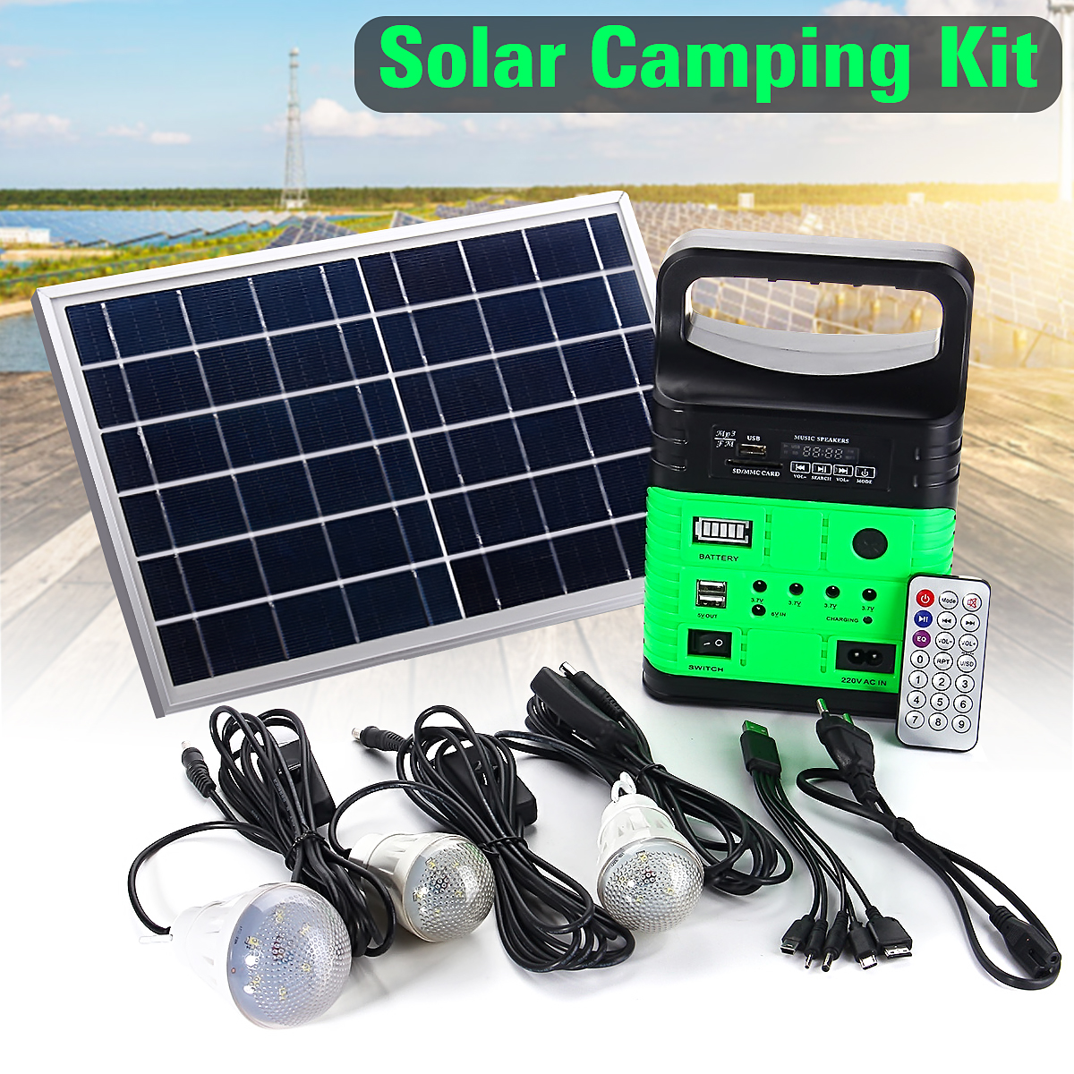 Smuxi Portable Solar Generator Outdoor Power Mini DC6W Solar Panel 6V-9Ah Lead-acid Battery Charging LED Lighting System portable dc solar panel charging generator power supply board charger radio mp3 flashlight mobile led lighting system outdoor