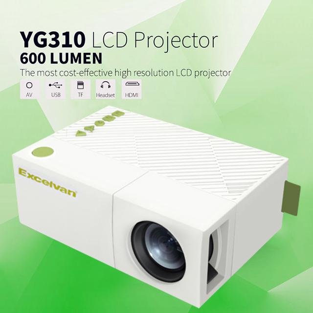 Excelvan YG310 cập nhật YG300 LED Máy Chiếu 800LM 3.5 mét 320x240 HDMI USB Mini Chiếu Home Media Player hỗ trợ 1080 p