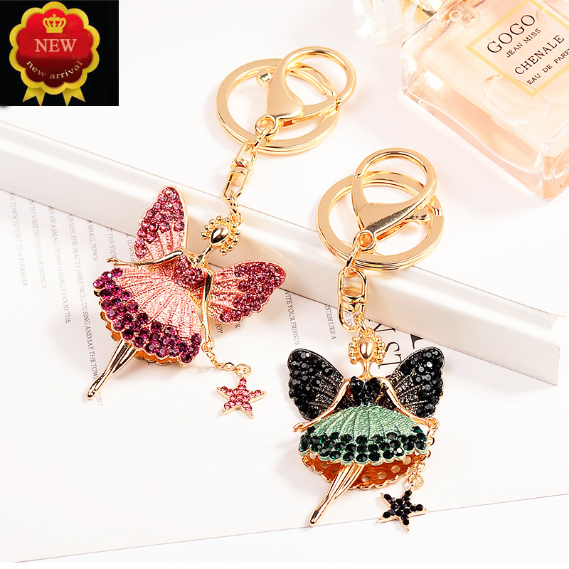 New Car Key Creative Little Angel Chain hanging Ring Jewelry Hanging bag Accessories Rings Pendant Ornament