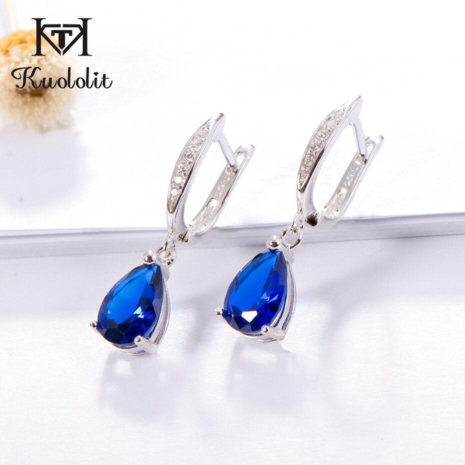d4d1f94a6dd4 Kuololit genuino 925 pendientes de Clip de plata de ley para mujer  pendientes de piedras preciosas de zafiro azul joyería de boda regalo de  piedra preciosa ...