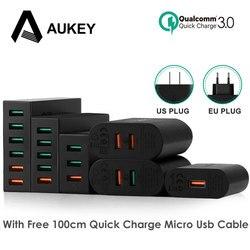 Aukey Quick Charge 3.0 Мобильный телефон Зарядное устройство USB Desktop и стены Зарядное устройство smart быстрой зарядки для телефона Samsung Galaxy S8 xiaomi