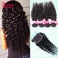 Brazilian Virgin Hair Deep Wave With Closure Cheap 4 Bundles Grace Hair With Closure 7A Grade Brazilian Virgin Hair With Closure