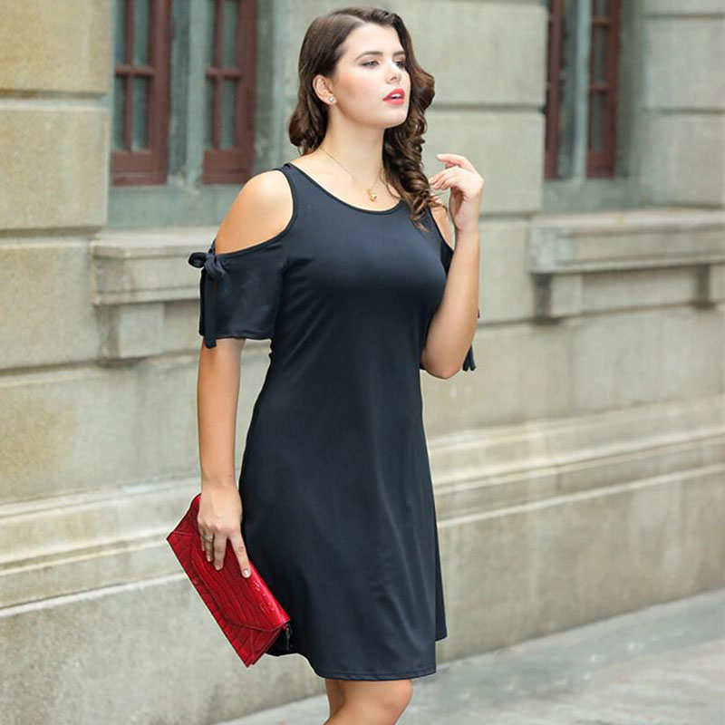 2018 summer Europe and America large size fat man knitted strapless female dress free shipping in Dresses from Women 39 s Clothing
